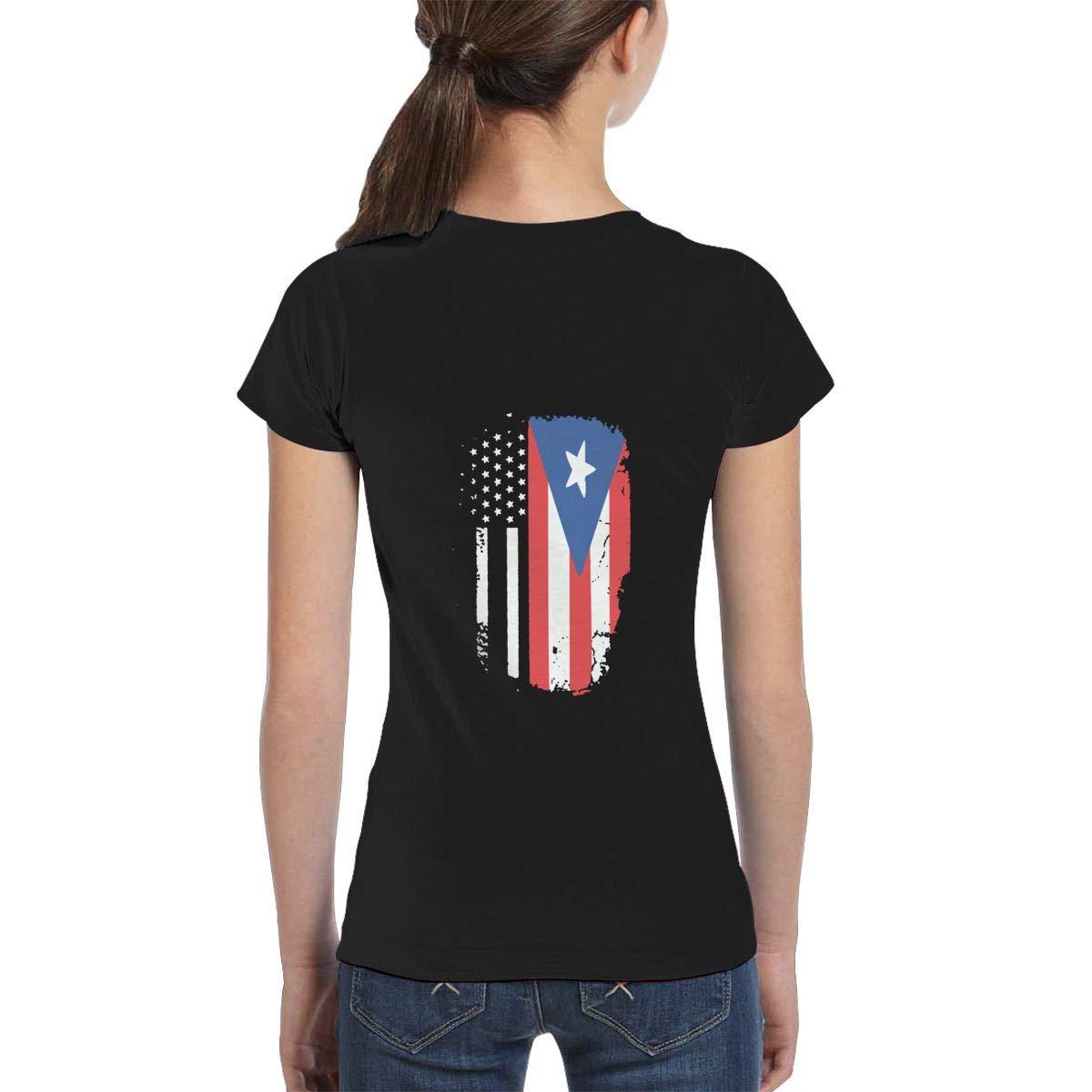 Casual Tunic Shirt Dress XS-XL Girls Short Sleeve American Puerto Rico Flag Shirts