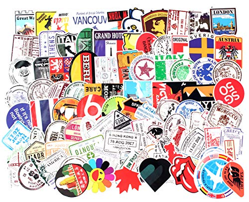 Sticker Decals - 100 Stamp Laptop Vinyl Stickers car Sticker for Snowboard Motorcycle Bicycle Phone Mac Computer DIY Keyboard Car Window Bumper Wall Luggage Decal Graffiti Patches (100 Postage Stamp)