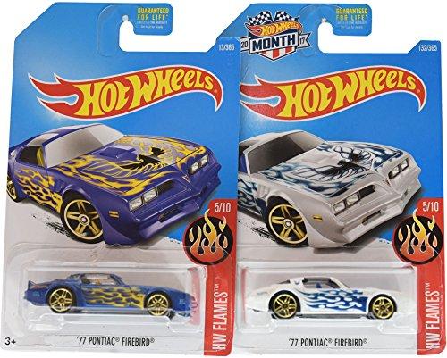 Pontiac Set - Hot Wheels 2017 HW Flames '77 Pontiac Firebird 5/10, Set of 2, Purple & White variations