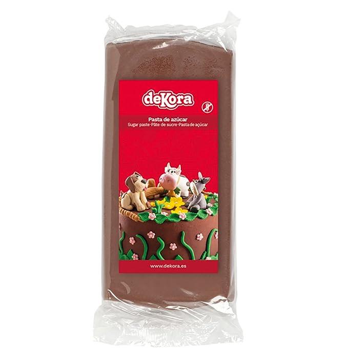 Dekora - Cobertura para Tartas de Fondant de Color Marrón - 3 de 250 gr
