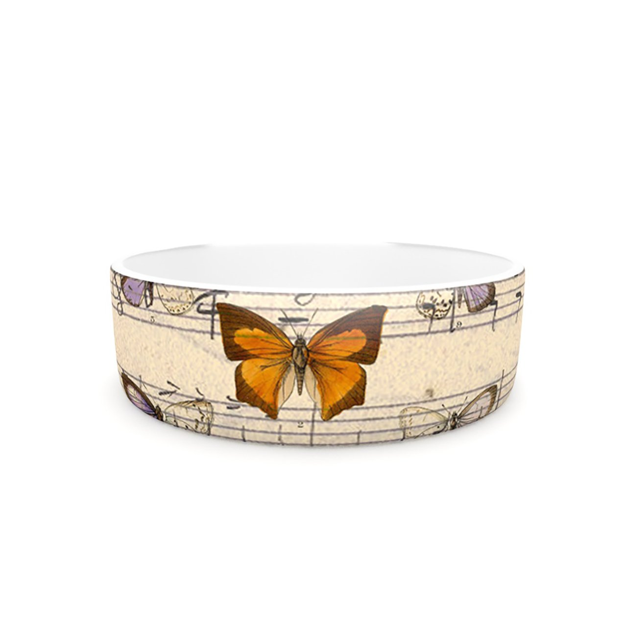 Kess InHouse Suzanne Carter Butterfly Opera  Pet Bowl, 7-Inch, Music Tan