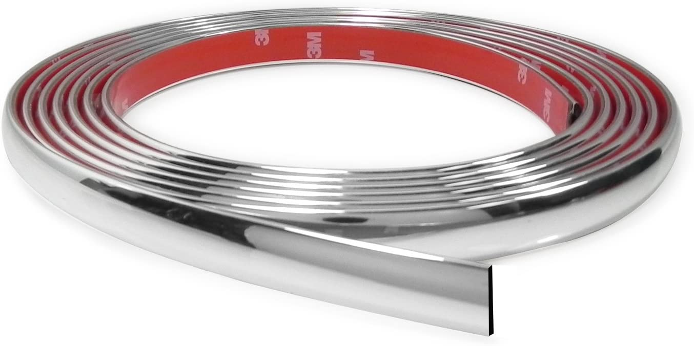 CarBeyondStore 10 Feet Chrome Finish 5//8 Inches Auto Body Molding Trim and Wheel Well Trim