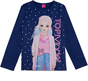 Top Model Niña T-Shirt, Manga Larga, Azul