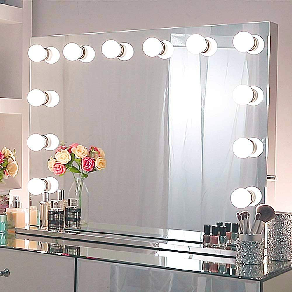 Amazon Com Chende Large Hollywood Mirror With Lights 31 5 X 23 62 Inches Lighted Vanity Mirror With Outlet By The Side Replaceable Led Bulbs And Stainless Steel Frame Wall Mounted Makeup Mirror Home