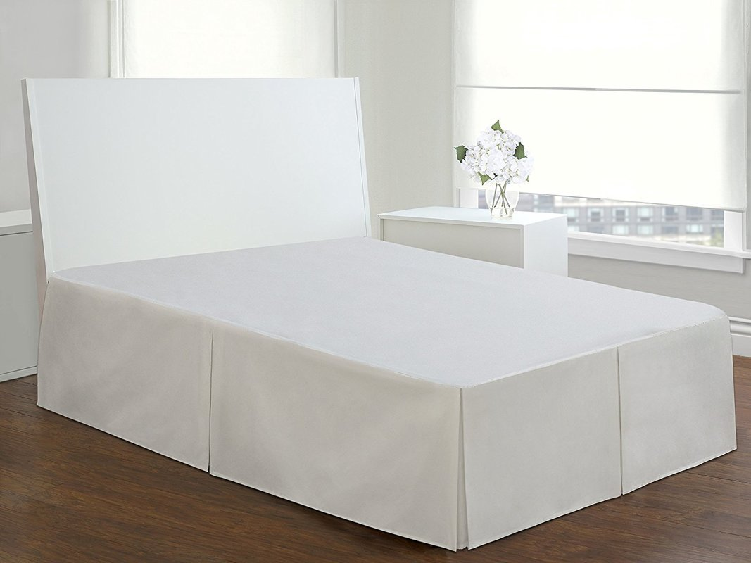 Hotel Quality 10'' Drop Length 600TC 1PC Pleated Bed Skirt 100% Egyptian Cotton 600 Thread Count {King, White Solid}