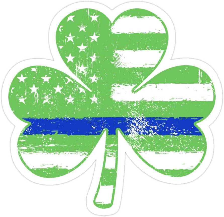 Okumahome 3 PCs Stickers Thin Blue Line Irish American Shamrock Flag St Patricks Day 3×4 Inch Die-Cut Wall Decals for Laptop Window Car Bumper Helmet Water Bottle