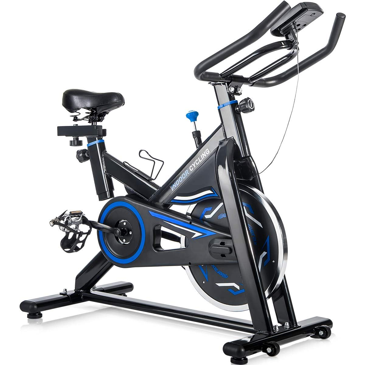 Merax Deluxe Indoor Cycling Bike Cycle Trainer Exercise Bicycle (Black with Blue) by Merax (Image #1)