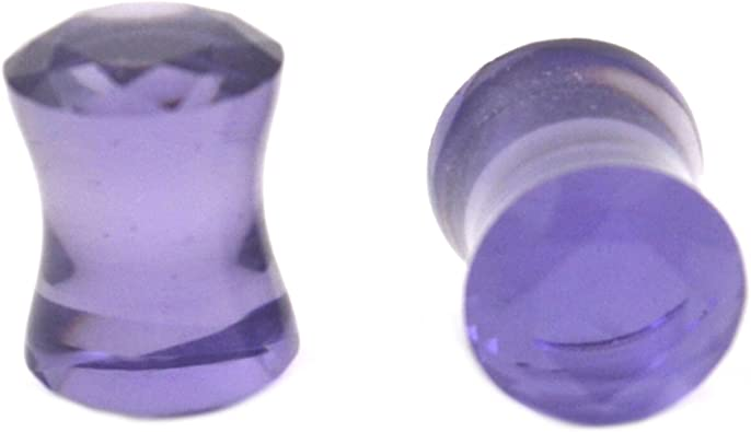 Sold as a Pair Blue Faceted Pyrex Glass Double Flared Ear Plug