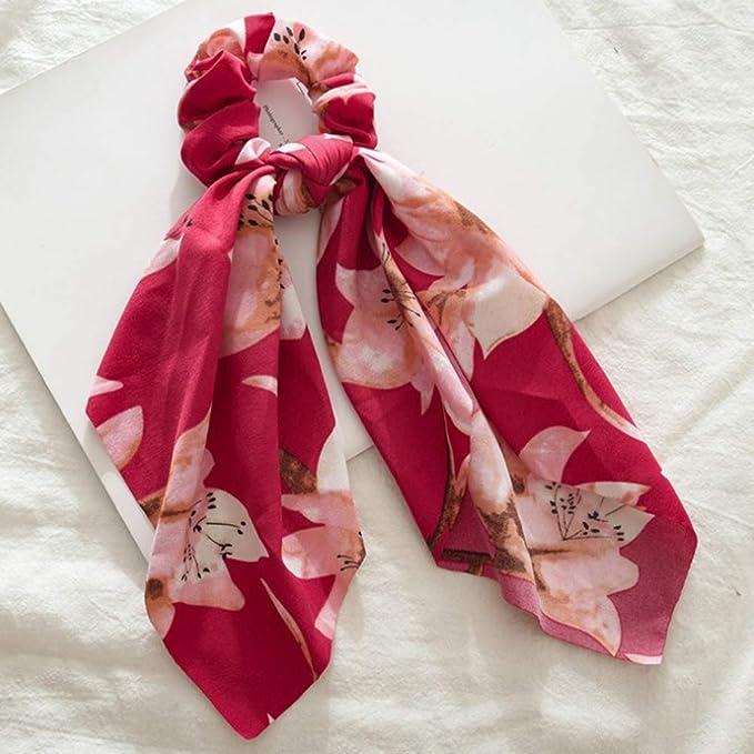 Cintas de Pelo para Mujer, Flor Grande Roja Scrunchie Impresa ...
