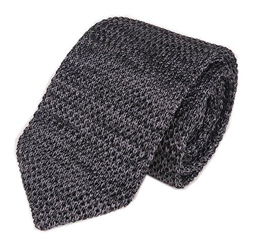 Mens Knit Dark Grey Coal Ties Modern Basic Designed Groomsmen Wedding Neckties (Wool Charcoal Dark)