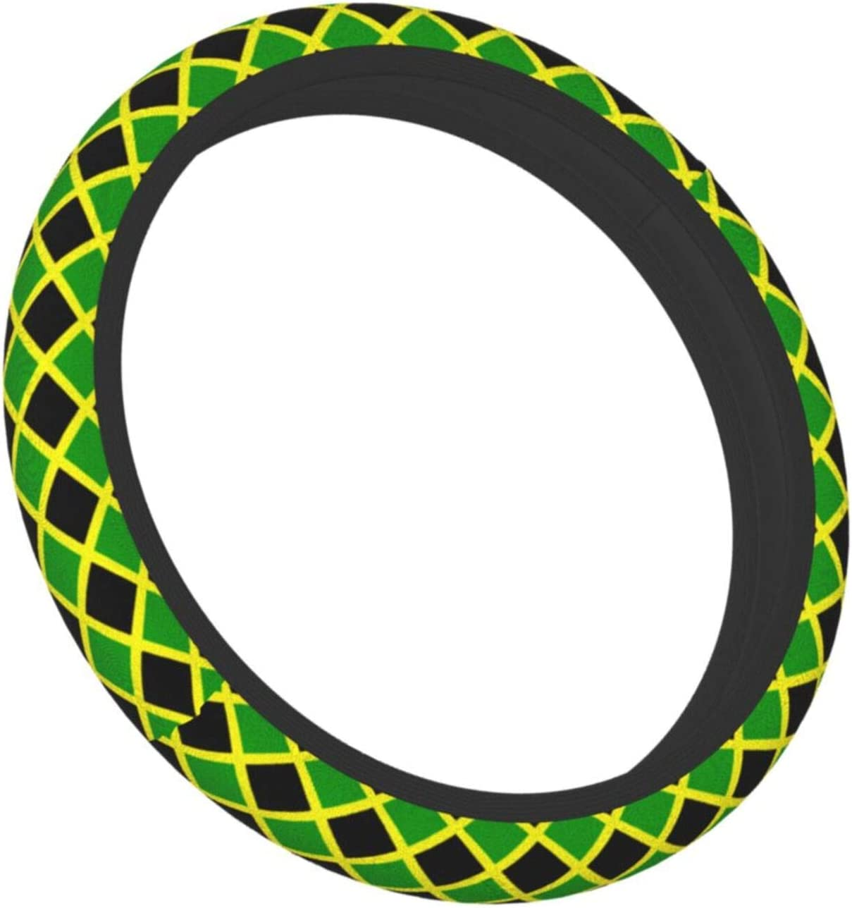Feim-Ao Steering Wheel Cover Jamaica Flag Steering Wheel Protector Anti Slip and Sweat Absorption Auto Car Wrap Cover Universal Wheel Covers for Men Women Ladies 15in