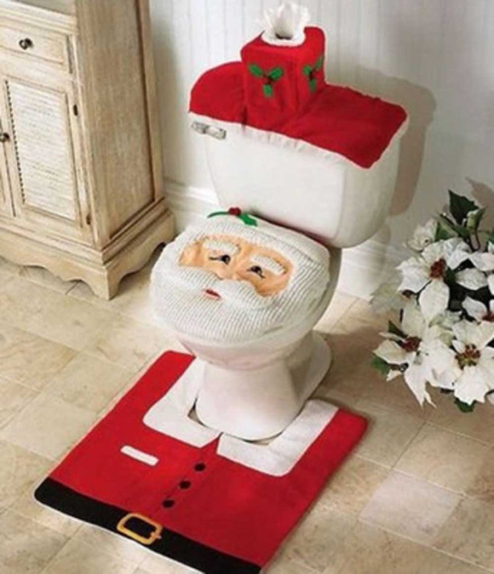 Cool toilet seat covers - Christmas Decoration Santa Toilet Set Seat Cover Rug Tissue Box Cover Set Gift By Tgo Amazon Co Uk Kitchen Home