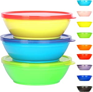 Youngever 18 Sets 8 ounce Kids Bowls with Lids (18 Bowls + 18 Lids), Small Food Storage Containers, Toddler Bowls with Lids, Microwave Safe, Dishwasher Safe, Set of 18 in 9 Assorted Colors