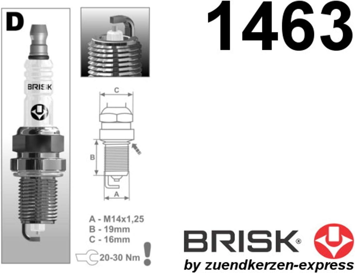 Brisk Silver DR17YS-9 1463 Spark plugs petrol fuel LPG CNG Autogas 6 pieces