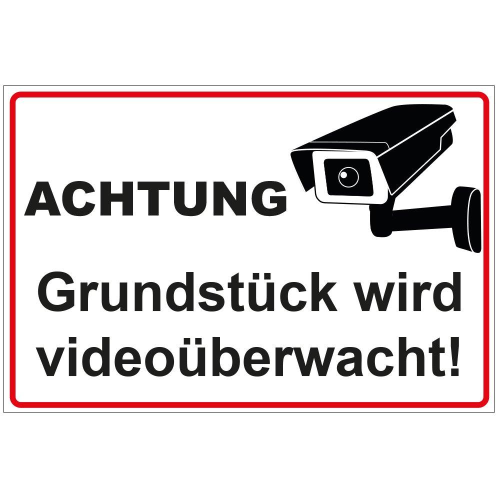 Schild 'Achtung - Grundstü ck wird videoü berwacht' aus Alu / Dibond 300x200 mm 3 mm stark geschenke-fabrik