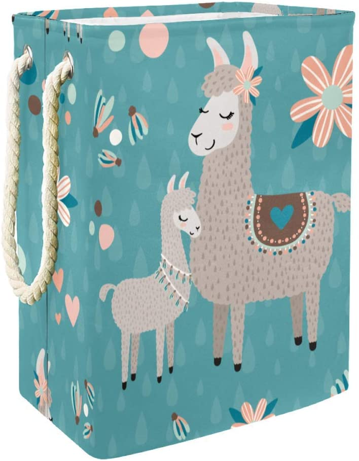 DJROW Freestanding Laundry Hamper Llama Teal Pattern Clothes Hamper Large Basket with Handles for Storage Clothes Toys in Bedroom Bathroom