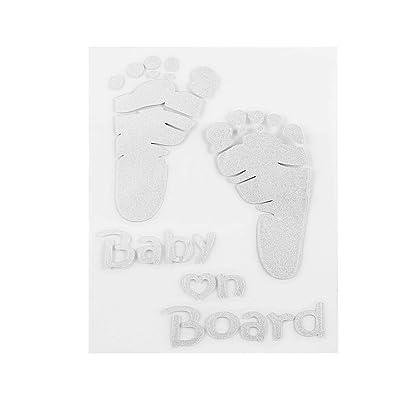 1 PCS Auto Sécurité Avertissement Fenêtre Autocollant Belle Lettre Bébé à Bord Bébé Empreintes De Pas Autocollants Stickers Autocollant De Voiture
