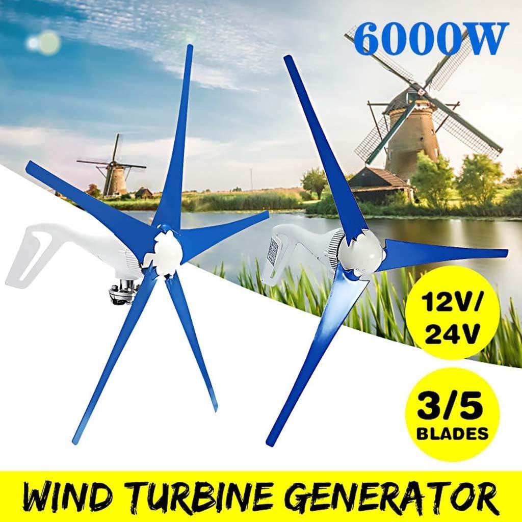 Turbina de viento 2020 6000W 3/5 Lamas Horizontales Carga Del Generador De Viento 12V / 24V Del Viento Generador De Turbinas Del Molino De Viento Con El Regulador De Carga De Energía Turbinas Turbinas
