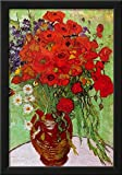 Vincent Van Gogh Still Life Red Poppies and Daisies Art Print Poster Framed Poster 15 x 21in