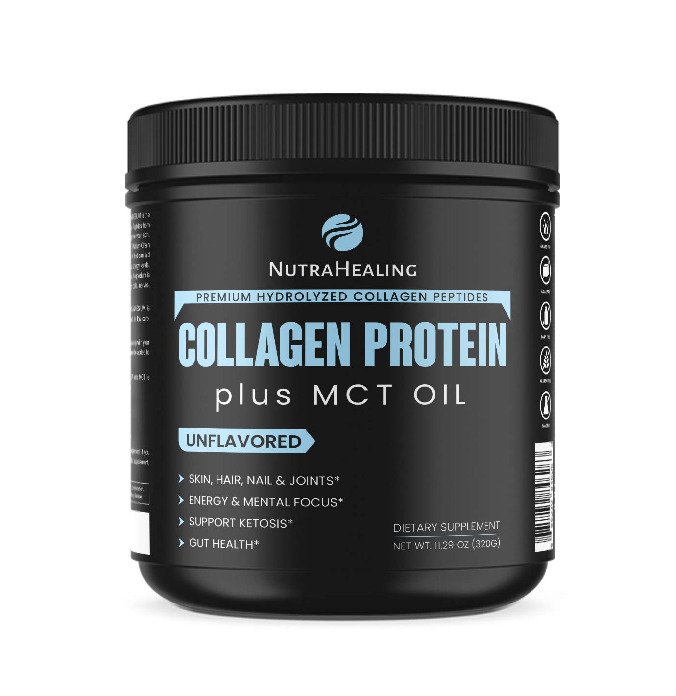 Premium Hydrolyzed Collagen Protein powder + MCT & Magnesium. Essential Amino Acids - Sugar free, Gluten Free Dairy free & Non-GMO - muscle Recovery - ideal for Low Carb, Paleo & Keto Diet- Unflavored by Nutrahealing