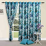 Cheap ShalinIndia Colorful Tropical Palm Cotton Door Curtains-54 x 84 Inch – Turquoise with White, Grey, Olive and Lavender Set of 2 Panels