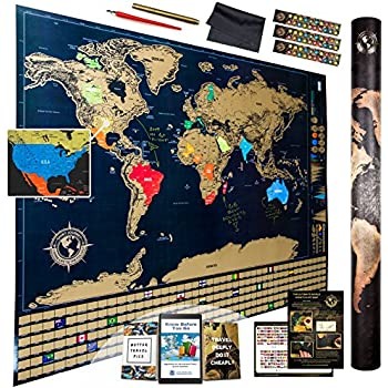 Amazoncom Detailed Scratch Off Places World Map Premium - Scratch off us state maps with pencil 25 pack
