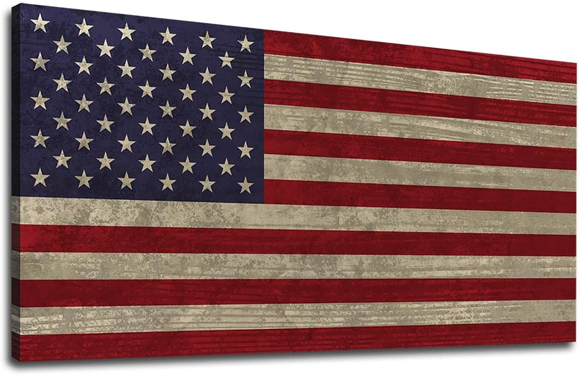 """Canvas Wall Art Vintage The Stars and The Stripes Contemporary Artwork Retro Rustic American National Flag Picture for Living Room Bedroom Office Wall Decor Large Canvas Painting Prints 24"""" x 48"""""""