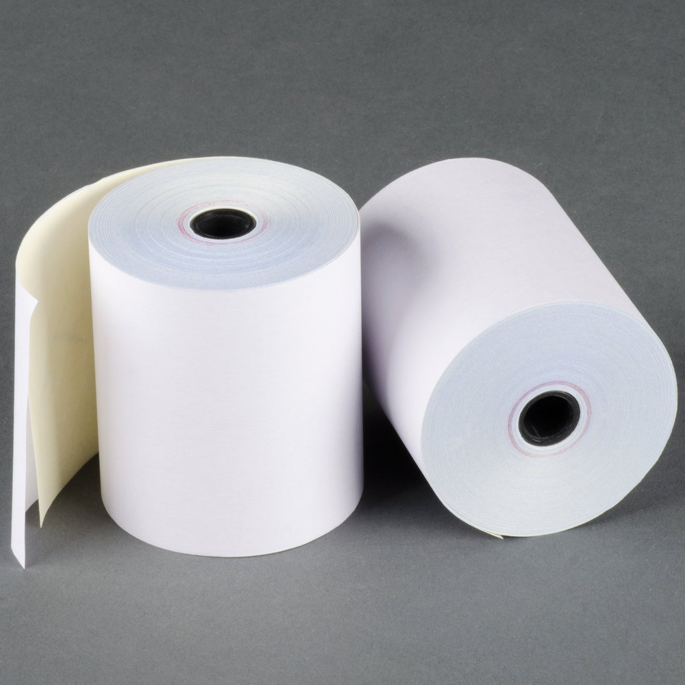 3 x 90' 2-Ply White/Canary Carbonless Kitchen Paper 50 Rolls Made in USA From BuyRegisterRolls