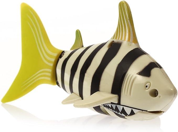 Escomdp Mini RC Fish Radio Control Remoto Pez tiburón Barco Agua Juguetes Eléctrico Electrónico Animal Mascotas Niños Regalos (Amarillo)