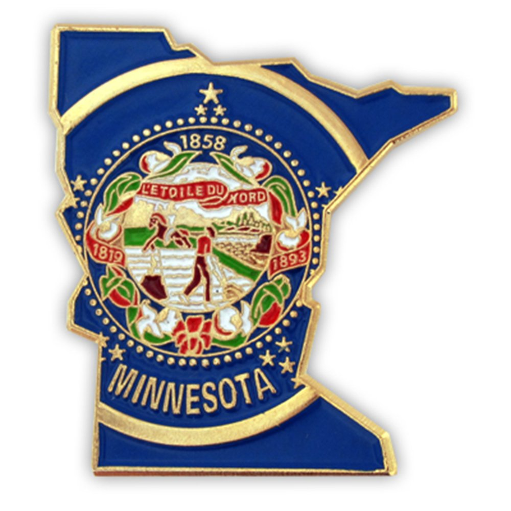 PinMart's State Shape of Minnesota and Minnesota Flag Lapel Pin
