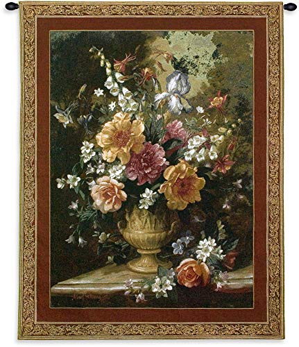 Iv Woven Wall Tapestry - Nature's Glory IV by Albert Williams | Woven Tapestry Wall Art Hanging | Floral Blooming Centerpiece Golden Vase Still Life | 100% Cotton USA Size 53x42