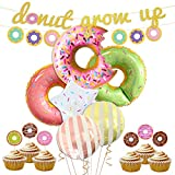 LUCK COLLECTION Donut Party Decorations Donut Grow Up Banner Mylar Balloons Cupcake Toppers for Donut Birthday Party Decorations