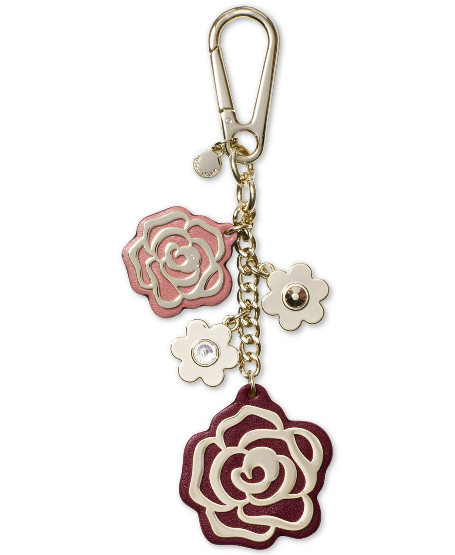 Michael Kors Multi Rose Charm Leather Keychain