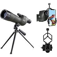 BNISE® Telescopio terrestre 20-60X60, Lentes ópticas recubiertas FMC, con Soporte para trípode, Clip para cámara de teléfono móvil, cámara, Clip para cámara