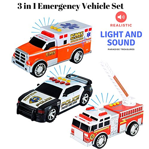 Police Fire Truck - Paradise Treasures 3 in 1 Emergency Vehicle Set - Educational Light and Sound Toy Vehicle Playset with Firetruck,Ambulance Toy and Police Car Toy