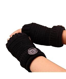 Vi.yo Medio Dedo del pulgar sin dedos Guantes cálidos Brazo suave para la mano Calentador de invierno Manoplas sin dedos Manoplas de punto