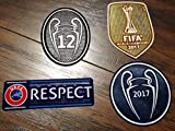 fifa champions patch - Real Madrid FC Patch Set 2017-2018 La Duodecima Soccer Jersey Badges Football Shirt Patches FIFA 2017 Club World Champions, Uefa Champions League Trophy 12 Honor