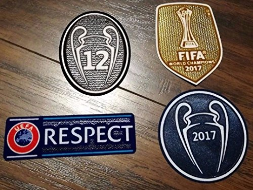 (Real Madrid FC Patch Set 2017-2018 La Duodecima Soccer Jersey Badges Football Shirt Patches FIFA 2017 Club World Champions, Uefa Champions League Trophy 12 Honor)