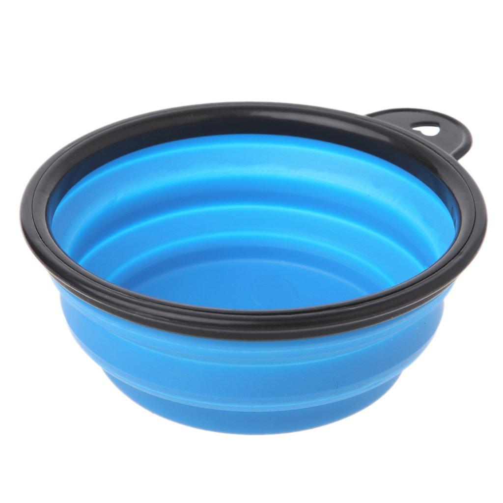LANDUM Port/átil Silicona Plegable Expandible Travel Feeding Pet Dog Bowl Agua Plato Taza Azul