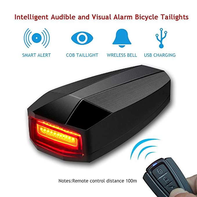 Bike Tail Light, Built-in anti-theft & search system remote
