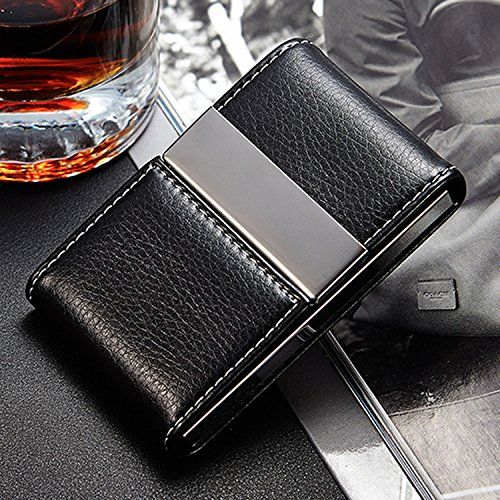 NICESTILE Business Card Holder, PU Leather Stainless Steel Name Card Case Holder with Magnetic Shut Double Sided Open (Black) by NICESTILE (Image #5)