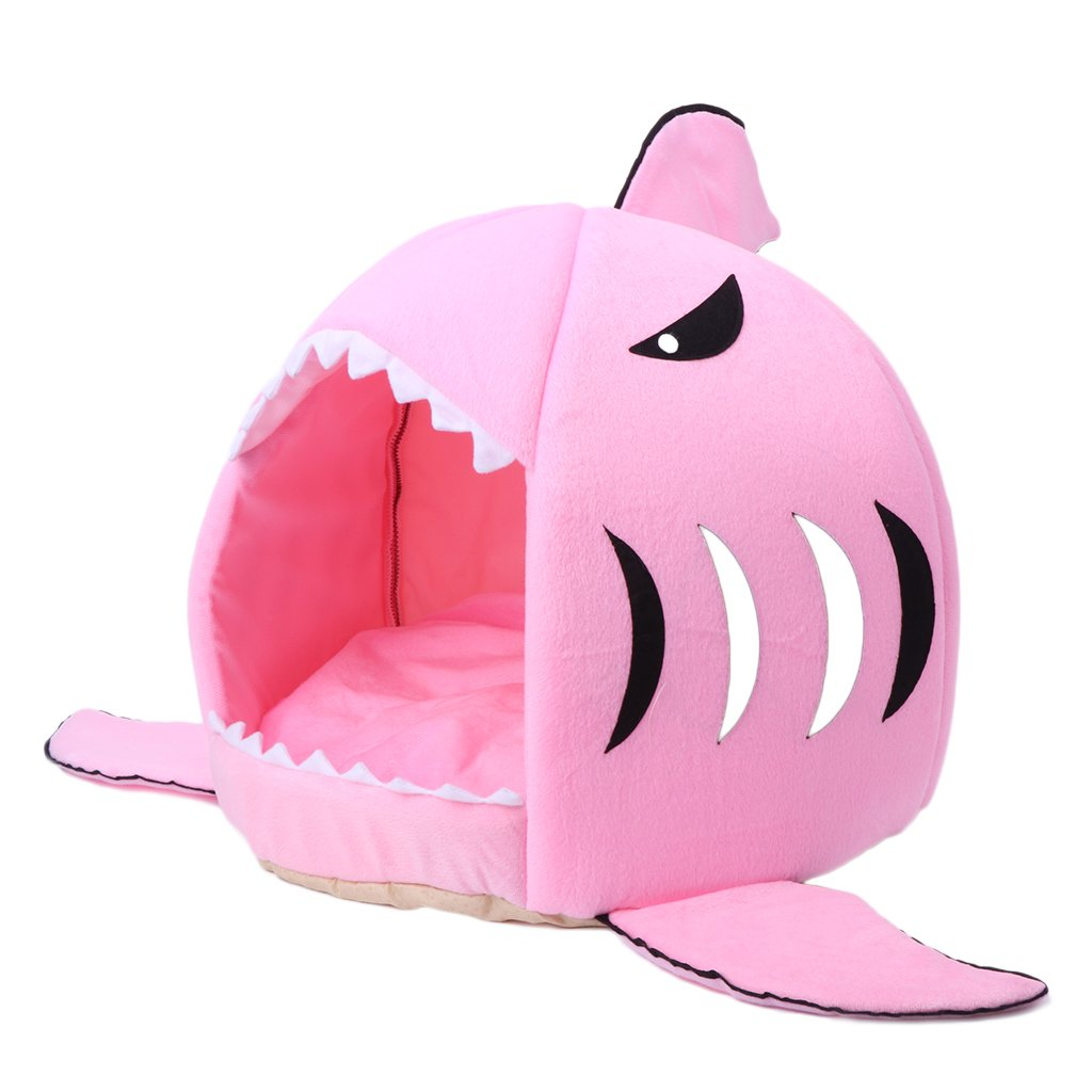 YDZN Pet Dog Cat Bed House Shark Mouth Teddy Doggy Puppy Warm Kennel Cushion Pad (M, Pink)