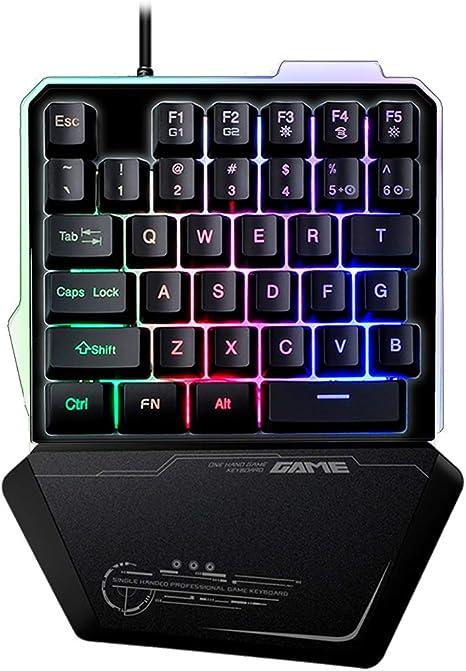 One-Handed Gaming Keyboard Wired 35 Keys LED Backlit USB Ergonomic Single Hand Keypad Gaming Keyboard