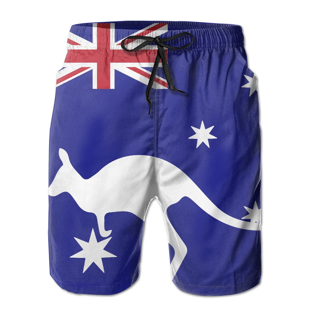 ZQ-SOUTH Mens Australia Flag Kagroo Quick Dry Summer Beach Surfing Board Shorts Swim Trunks Cargo Shorts