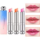 Pack of 3 Crystal Jelly Lipstick, Firstfly Long Lasting Nutritious Lip Balm Lips Moisturizer Magic Temperature Color Change L