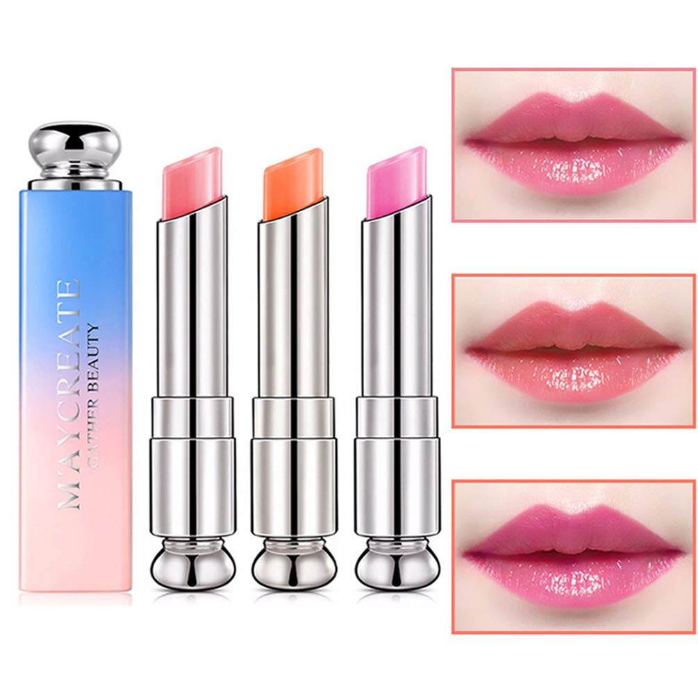 Pack of 3 Crystal Jelly Lipstick, Firstfly Long Lasting Nutritious Lip Balm Lips Moisturizer Magic Temperature Color Change Lip Gloss (A)