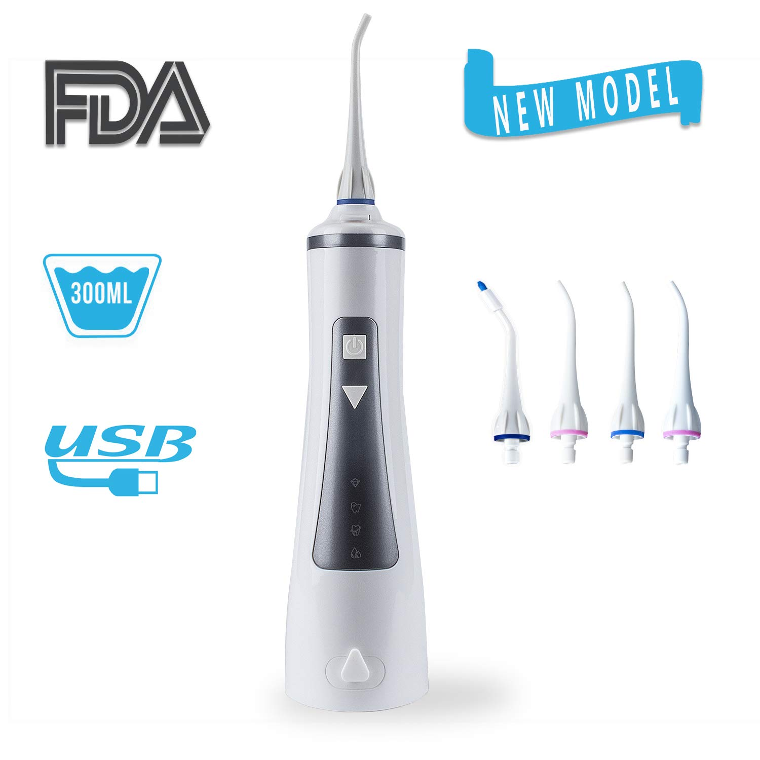Cordless Water Flosser Oral Irrigator with 4 Modes for Braces and Teeth, Rechargeable Dental Flosser with 4 Jet Tips, 300ML Reservoir, IPX7 Waterproof for Home and Travel