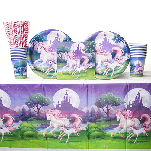 Unicorn Fantasy Party Supplies Pack for 16 Guests Includes: Straws, Dinner Plates, Luncheon Napkins, Cups, and Tablecover (Bundle for 16)