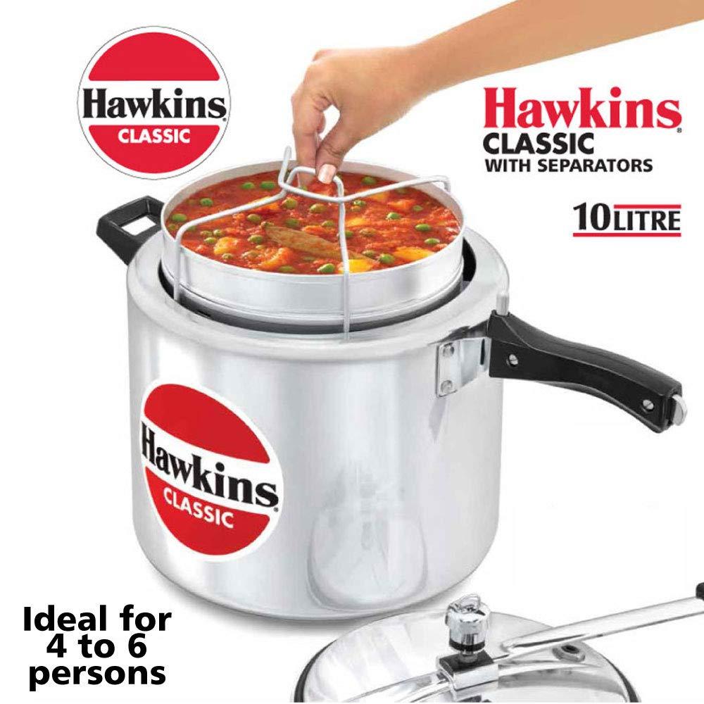 Hawkins Classic CL11 10 L Aluminum Pressure Cooker with Separator, Medium, Silver