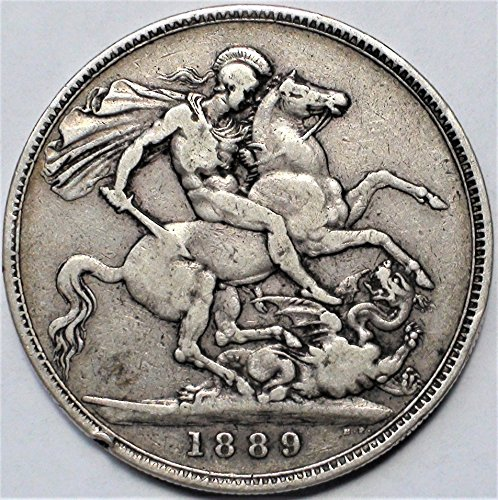 UK 1887-92 European Great Britain St. George Slaying a Dragon Antique Silver Coin Crown Good